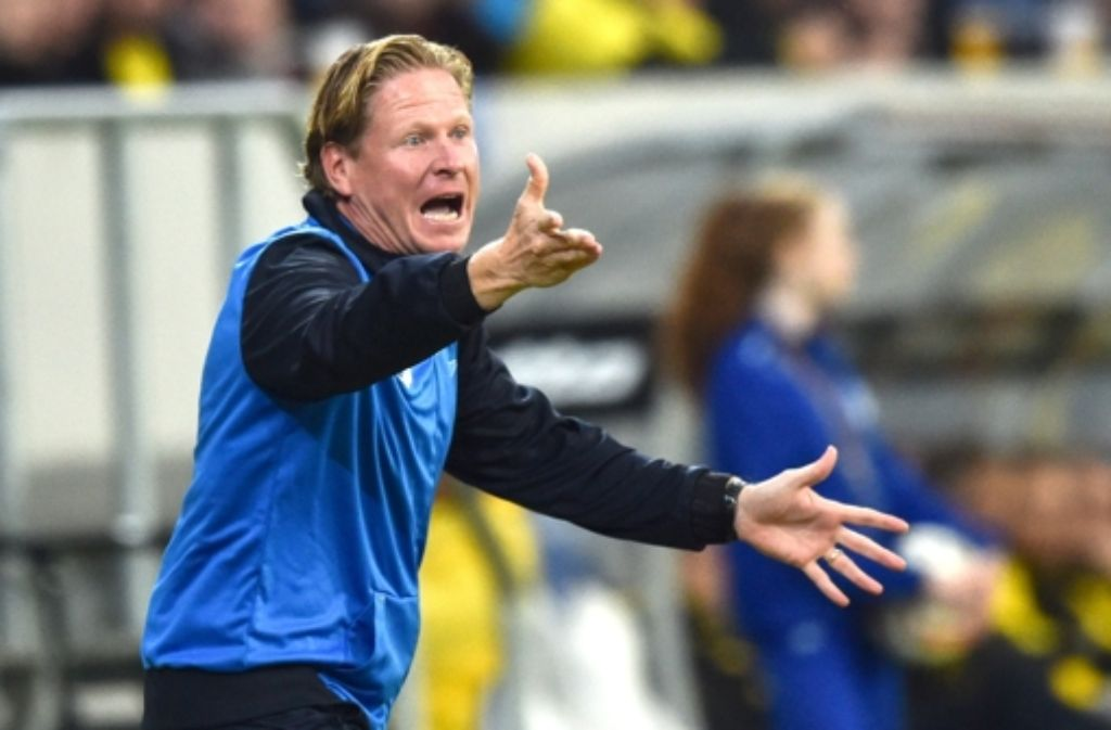 Der TSG-Trainer Markus Gisdol ist nicht mehr unumstritten. Foto: dpa