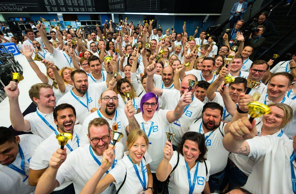 Teamviewer-Mitarbeiter  auf dem Börsenparkett in Frankfurt Foto: dpa/Andreas Arnold