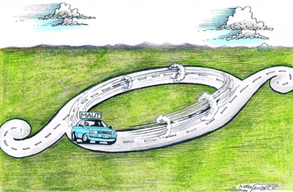 Der Gesetzentwurf zur Maut in der x-ten Runde. Foto: mandzel/tooonpool.com