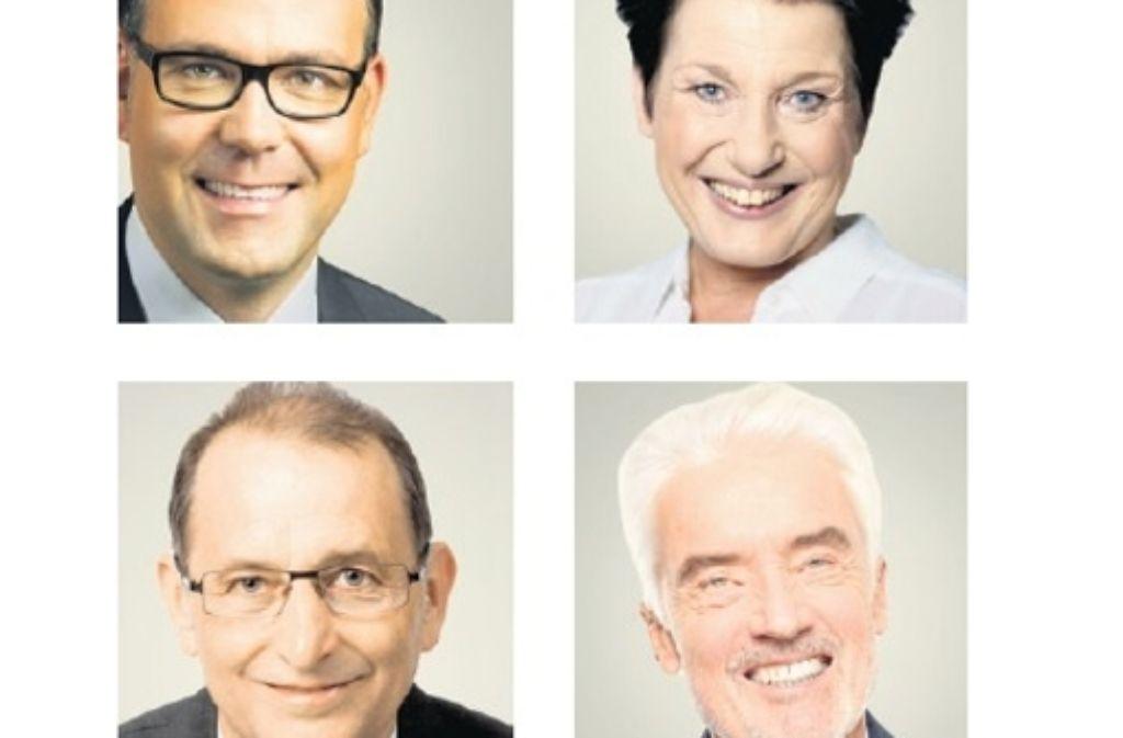 Von  oben links: Siegfried Lorek (CDU), Katrin Altpeter  (SPD), Willi Halder (Grüne) und Ulrich Goll (FDP). Foto: Frank Luger, privat (3)