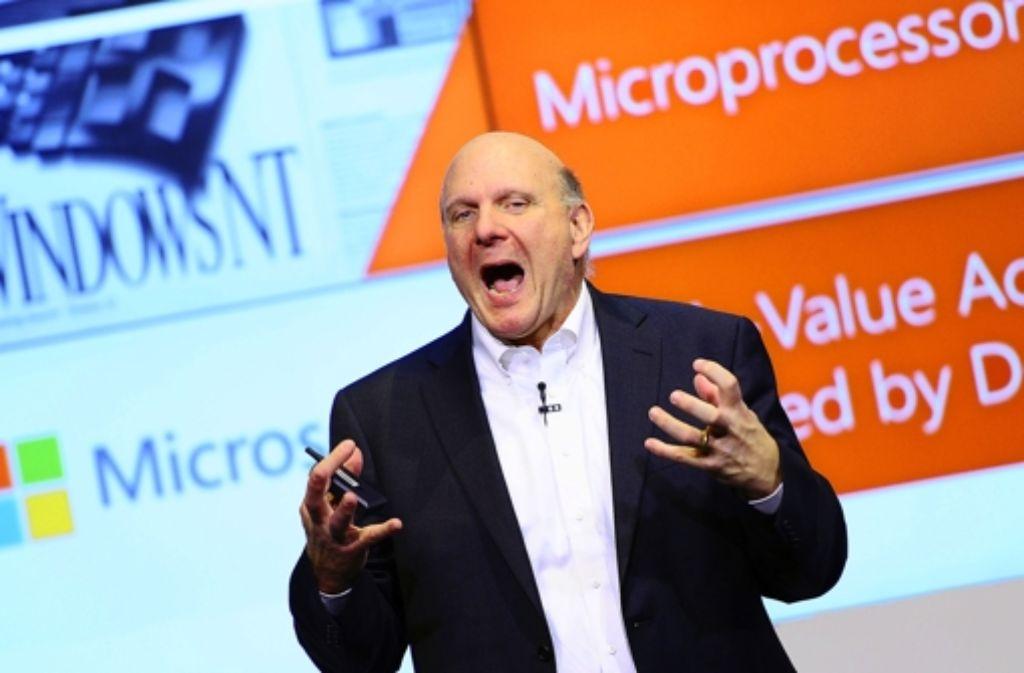 Microsoft-Chef Ballmer spricht der Gründerszene laut und leidenschaftlich Mut zu. Foto: dpa