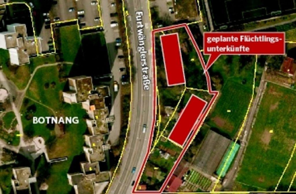 Der rotmarkierte Bereich zeigt den geplanten Standort der Flüchtlingsunterkunft. Foto: StZ