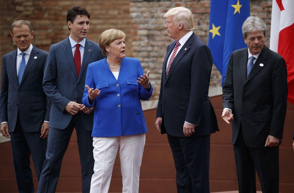 Das Auftreten der Kanzlerin gegenüber Donald Trump könnte im Wahlkampf  eine Rolle spielen. Foto: AP