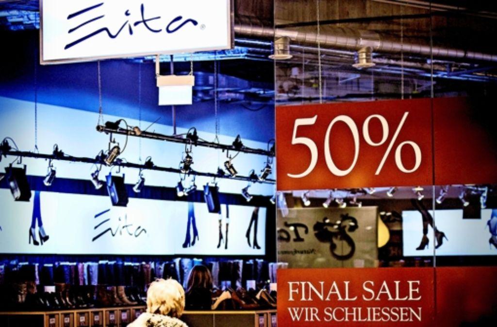 Der Schuhhändler Evita räumt das Feld. Am 24. Januar ist der letzte Verkaufstag im Einkaufszentrum Gerber. Foto: Lichtgut/Leif Piechowski