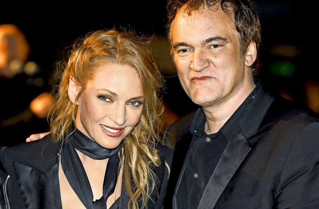 """Uma Thurman und Quentin Tarantino 2014 beim Filmfestival von Cannes, ein Jahrzehnt nach ihrem Zwist beim Dreh von """"Kill Bill 2"""" (2004). Foto: dpa Foto:"""