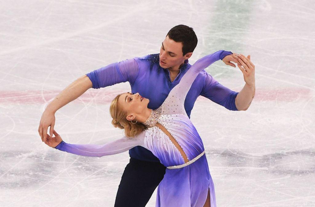Aljona Savchenko and Bruno Massot bei ihrem Gold-gekrönten Olympia-Auftritt Foto: AFP