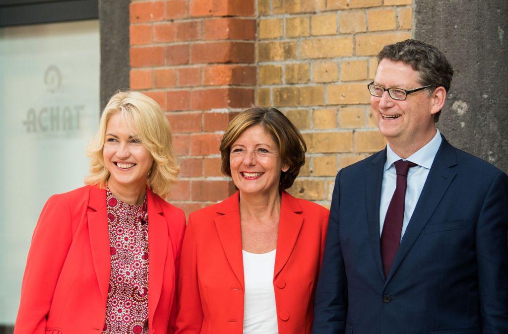 Sie wollen den SPD-Vorsitz nicht dauerhaft übernehmen: Die kommissarischen Parteichefs Manuela Schwesig, Malu Dreyer und Thorsten Schäfer-Gümbel (von links). Foto: dpa