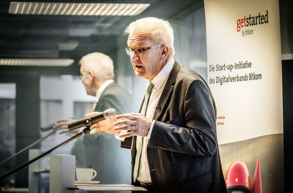 Ministerpräsident Kretschmann sieht Baden-Württemberg in der Aufholjagd. Die Gründer stellen der Landesregierung jedoch eher schwache Noten aus. Foto: Lichtgut/Achim Zweygarth