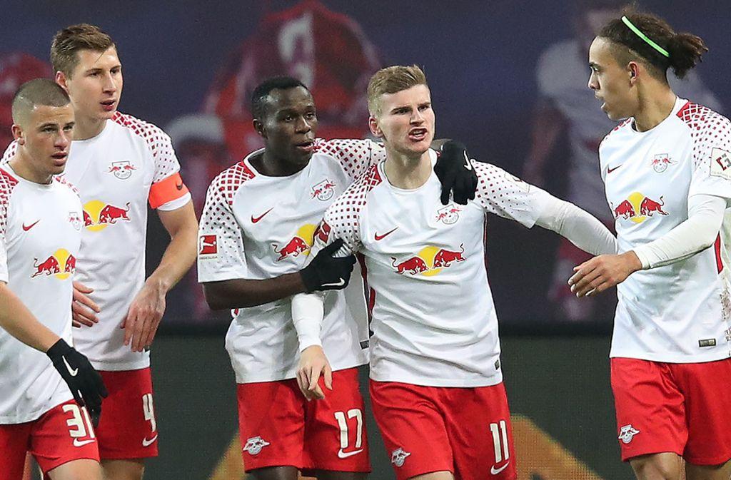 Timo Werner erzielte nur sechs Minuten nach seiner Einwechslung das 2:1 für Leipzig. Foto: Bongarts