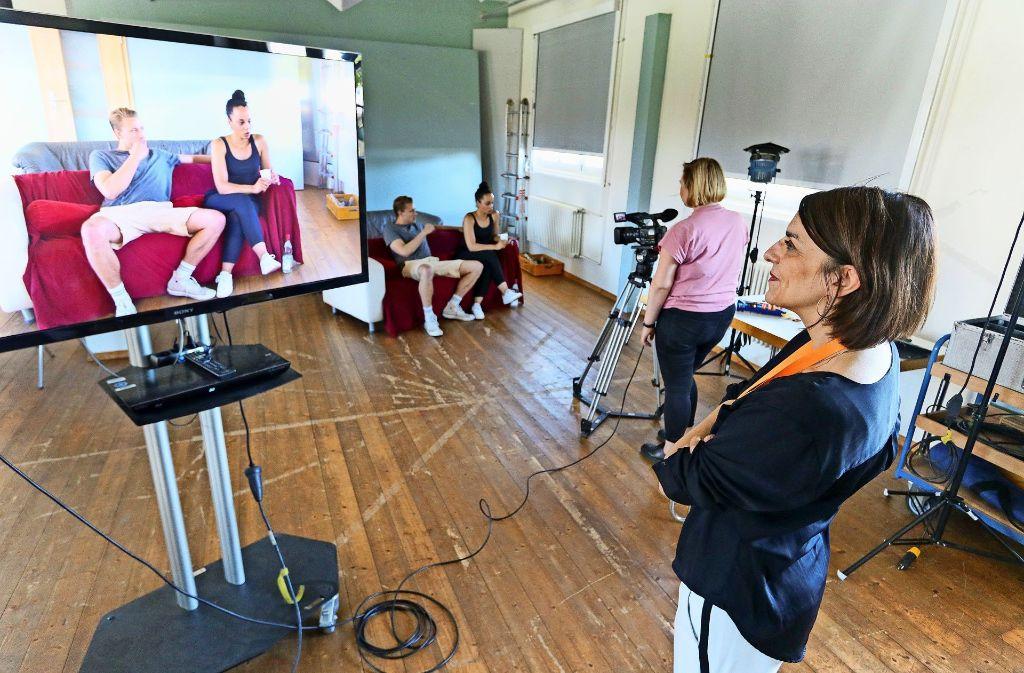 Nina Haun (rechts) beim Casting-Training im Mai 2017 an der Ludwigsburger Filmakademie Foto: factum/Granville
