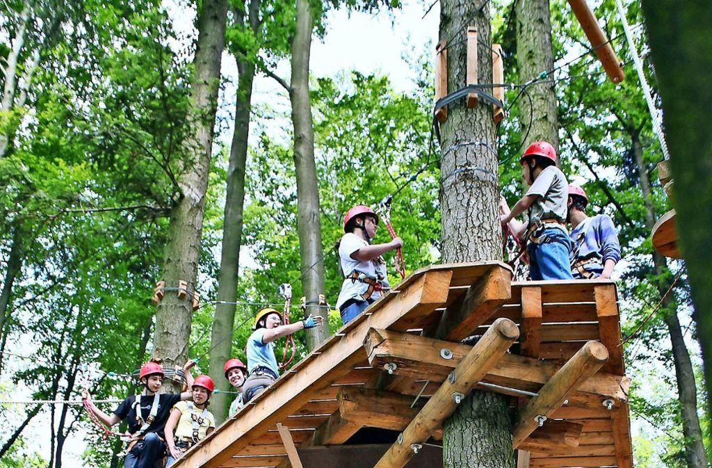16000 Besucher verzeichnet der Klettergarten der Kraxl-Alm im Jahr. Wegen des Borkenkäfers wurden Bäume gefällt und zwei Parcours müssen ersetzt werden. Foto: factum/Archiv,  dpa