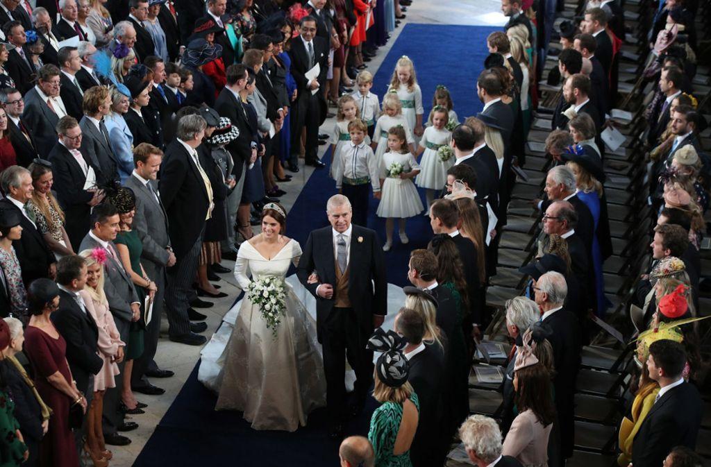 Die britische Prinzessin Eugenie und Jack Brooksbank haben sich das Ja-Wort gegeben – unter den Gästen sind einige bekannte Gesichter. Foto: Getty Images Europe