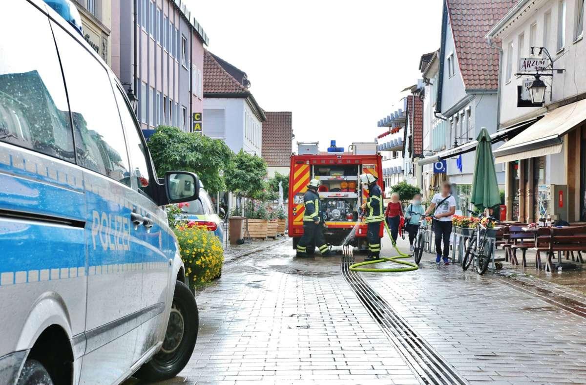 An der Ecke Turmstraße/Marktstraße in Winnenden ist es zu einer Schlägerei gekommen. Foto: 7aktuell.de/Kevin Lermer