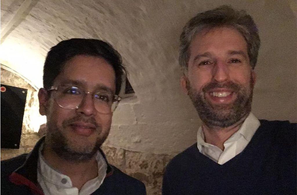 Hasnain Kazim (l.) und Boris Palmer bei einem Treffen in Tübingen Foto: Screenshot Facebook Boris Palmer