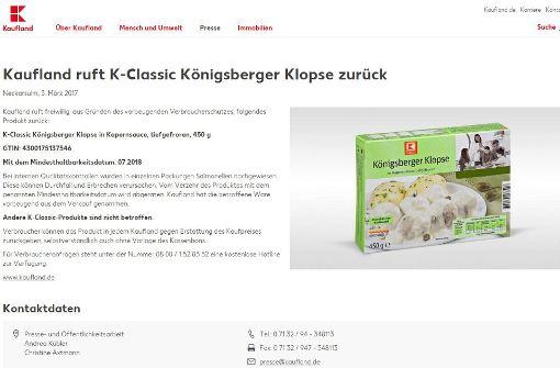 Salmonellenfund in Königsberger Klopsen
