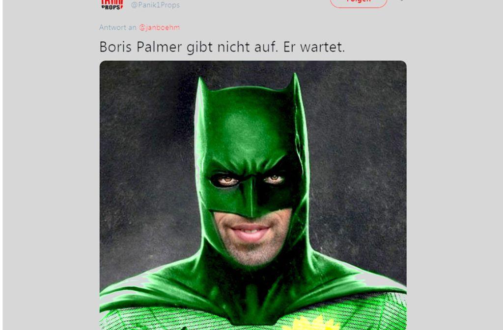 Im Internet wird Boris Palmer als Superheld  gezeigt. Er selbst bewies Humor – und stellte das Foto als Profilbild auf seine Facebook-Seite. Foto: twitter.com/Panik!Props