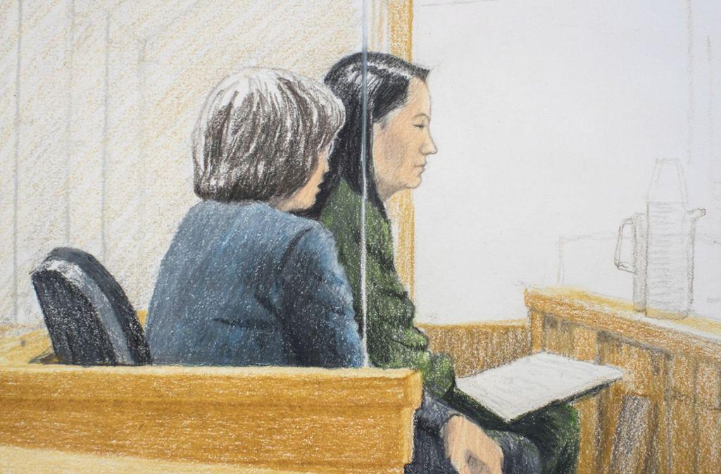Huawei-Managerin  Meng Wanzhou (rechts) bei ihrer Anhörung vor Gericht in Vancouver. Foto: