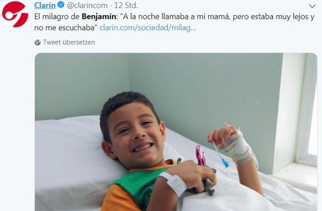 Der fünfjährige Benjamín nach seiner Rettung im Krankenhaus. Foto: Screenshot Twitter/twitter.com/search?q=clarin%20benjamin&src=typd&lang=de