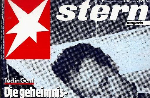 """Umstritten: """"Stern""""-Titelbild im Jahr 1987 mit dem Foto des toten Barschel Foto: Repro StZ"""