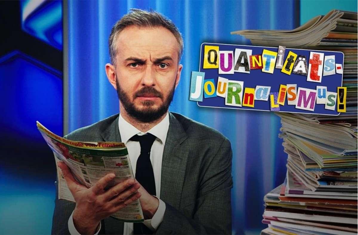 Jan Böhmermann hat sich die deutsche Klatschpresse angesehen. Seine Begeisterung ist sichtlich grenzenlos. Foto: ZDF