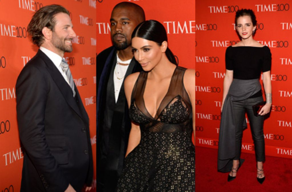 Bradley Cooper, Kanye West mit Ehefrau Kim Kardashian und Emma Watson gehören für das Magazin Time zu den 100 einflussreichsten Menschen der Welt. Foto: getty/dpa