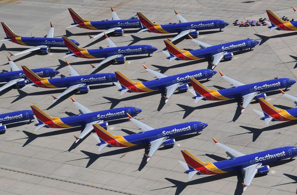 Geparkte Boeing 737 Max der US-Fluggesellschaft Southwest Airlines. Foto: AFP/MARK RALSTON