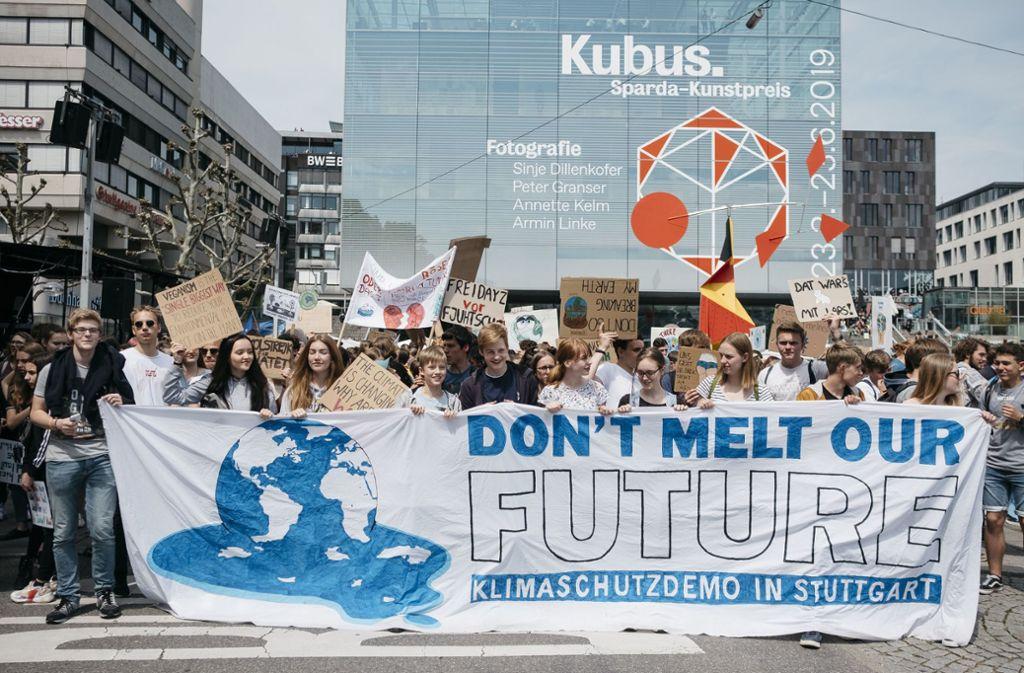 Auch in Stuttgart demonstrierten Tausende für mehr Klimaschutz. Foto: Leif Piechowski