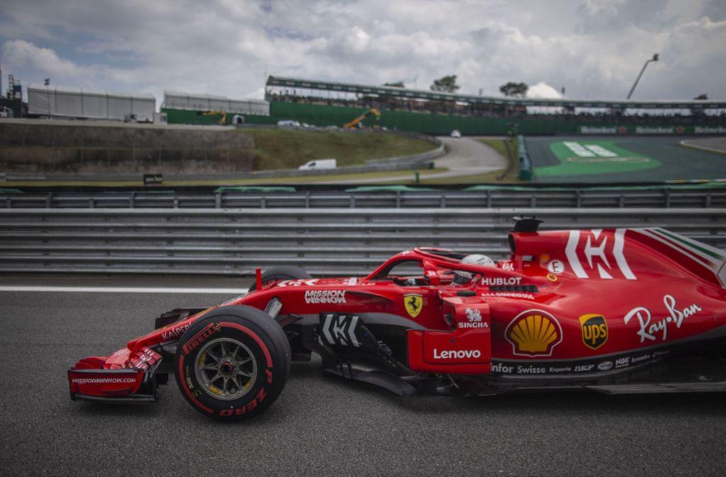 Sebastian Vettel mit seinem Ferrari während des Qualifyings in Brasilien. Foto: AFP