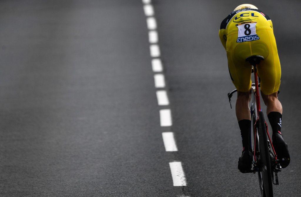 Geraint Thomas im Gelben Trikot – der Tour-Sieger schlüpft auch in Deutschland in die Favoritenrolle.Foto:AFP Foto: