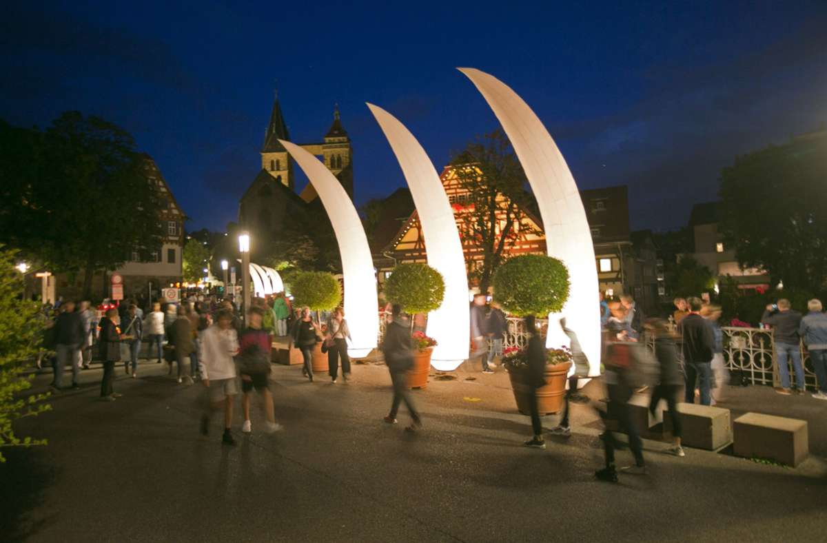 """Eine funkelnde Einkaufsnacht wird es in Esslingen dieses Jahr nicht geben, stattdessen bis September ein langes """"Sommerfunkeln"""". Foto: Roberto Bulgrin"""