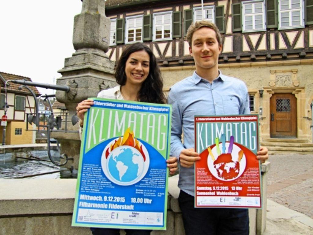 Die Energiemanager  Natalja Roizenzon  und Hannes Lauer  wollen bei den  Klimatagen das Bewusstsein für lokale Handlungsmöglichkeiten stärken. Foto: Claudia Barner