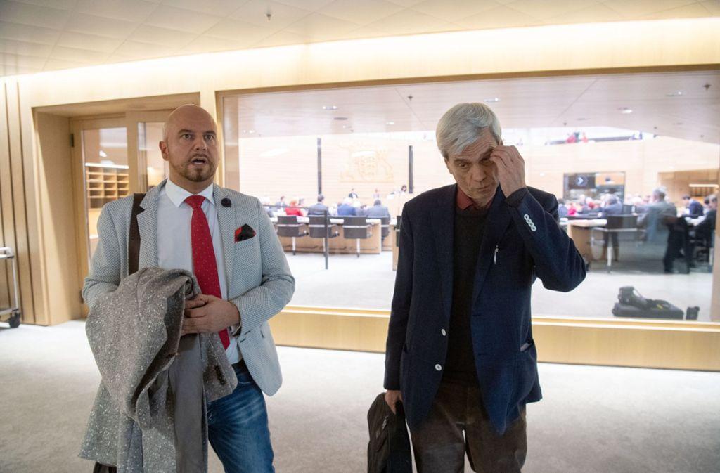 Lösten Polizeieinsatz im Landtag aus: AfD-Politiker Räpple (l.) und Gedeon Foto: dpa