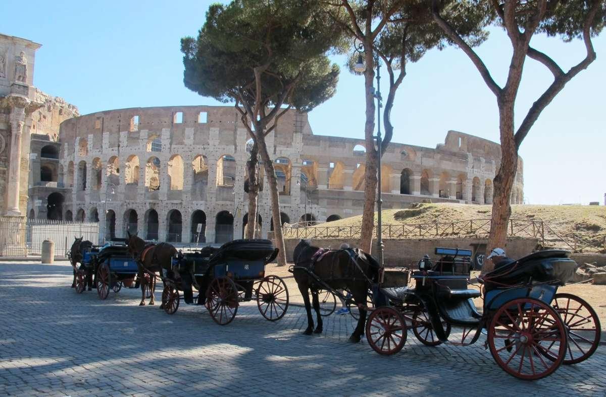 """Laut der Zeitung """"Corriere della Sera"""" gibt es in Rom noch 21 Kutscher mit einer offiziellen Lizenz. Foto: Petra Kaminsky/dpa"""