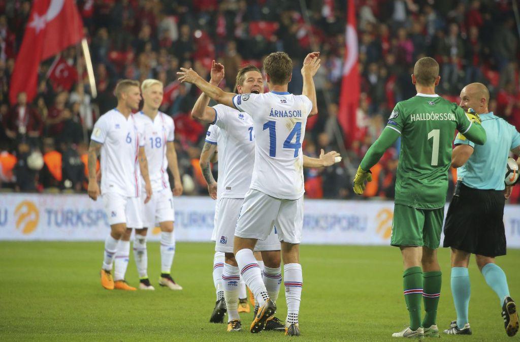 Island feiert seinen Sieg gegen die Türkei. Foto: AP
