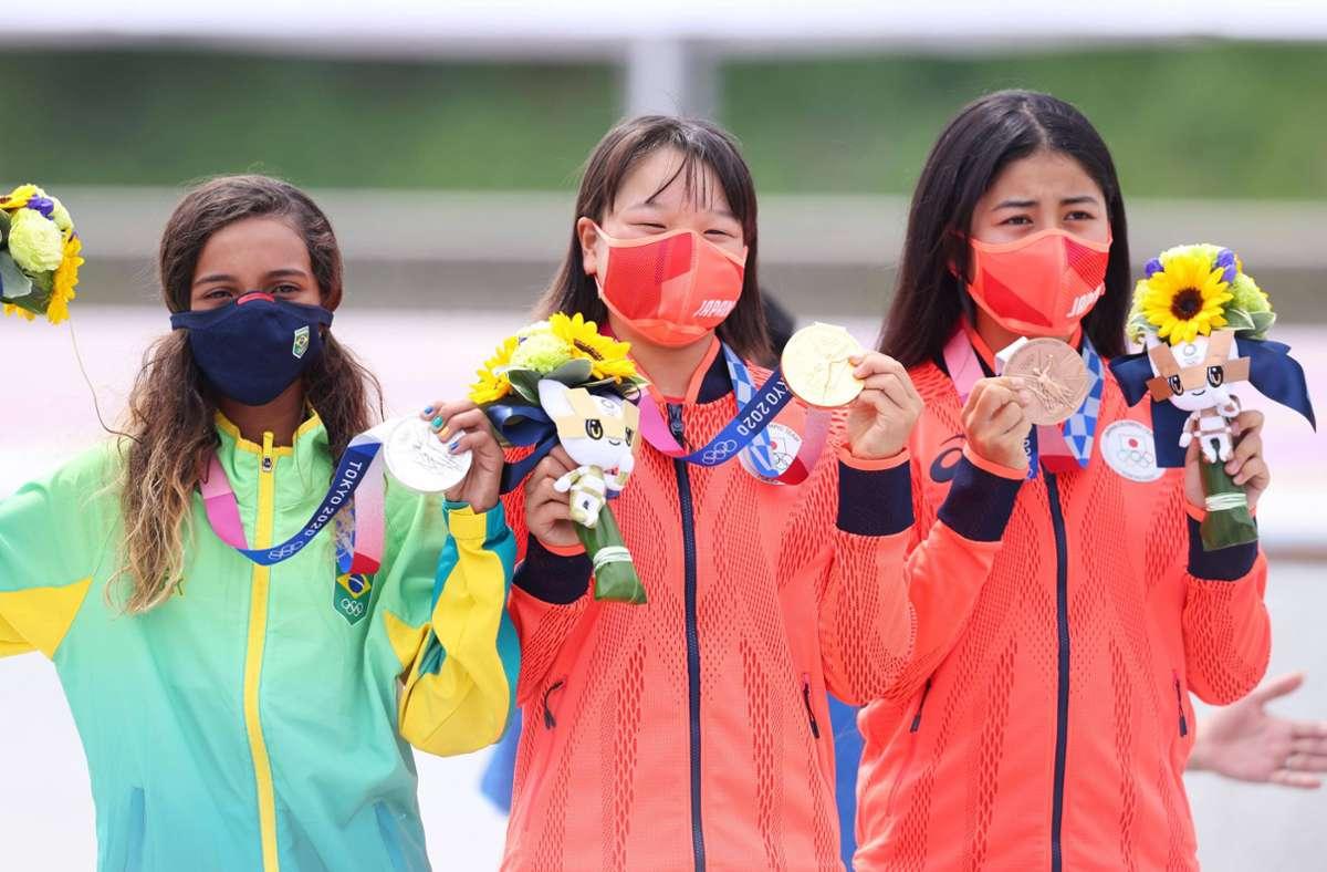 Momiji Nishiya gilt als drittjüngste Olympiasiegerin der Geschichte – die jüngsten Gewinner finden Sie in der Bildergalerie. Foto: imago images/AFLOSPORT/Naoki Morita