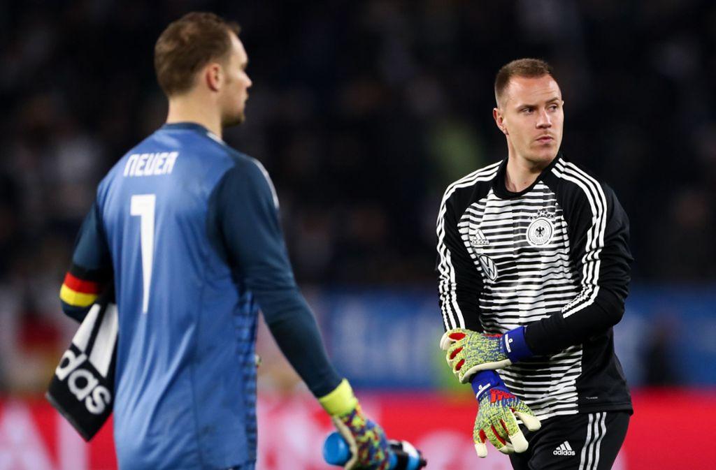 Die Nummer eins im deutschen Tor ist Manuel Neuer (links) – auch wenn die DFB-Elf in Marc-André ter Stegens Heimat auf Weißrussland trifft. Foto: dpa/Christian Charisius