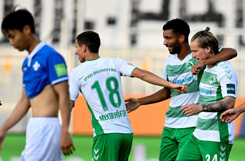Darmstadt kam gegen Fürth lediglich zu einem 1:1-Unentschieden. Foto: dpa/Sascha Steinbach