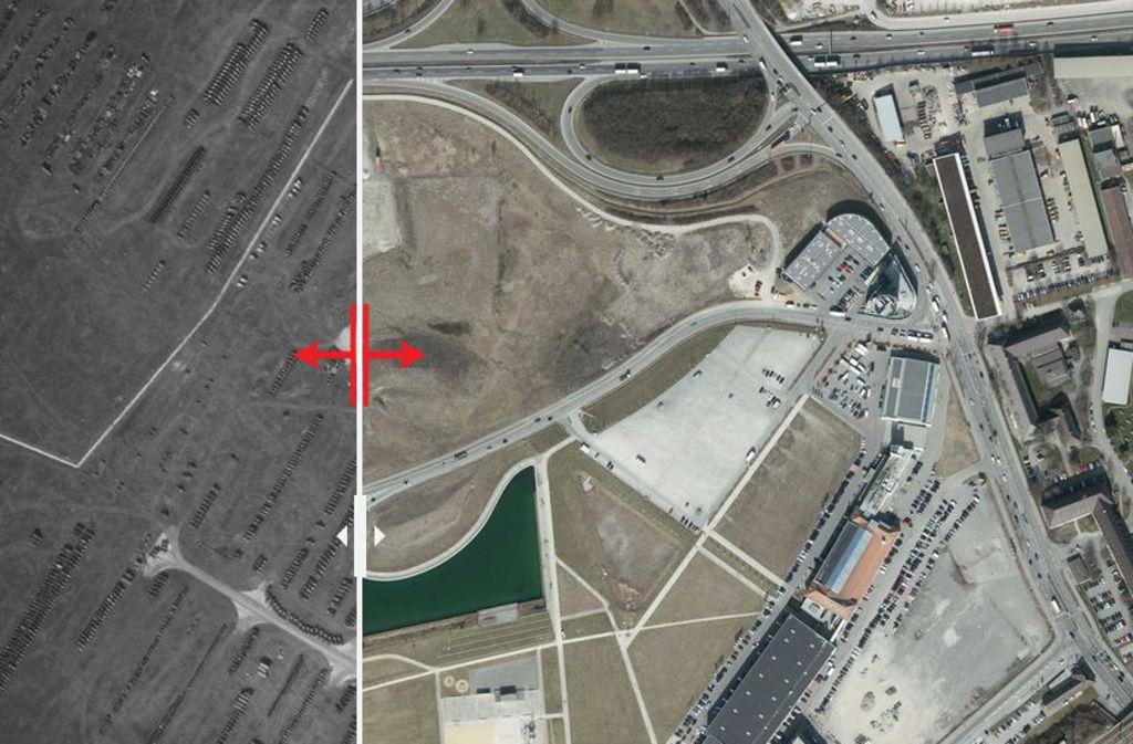 Seit 1955 hat sich viel auf dem Flugfeld viel verändert. Wo sich einst ein Reparaturwerk befand, lockt heute die Motorworld Autofans an. Foto: Stadtmessungsamt Stuttgart