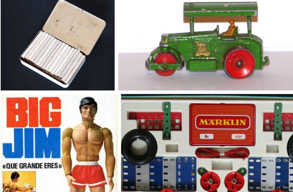 Schoko-Fluppen, Matchbox-Autos, Big-Jim-Figuren und Metallbaukästen: Traumspielzeug aus den 1960er und 70er Jahren Foto: Wikipedia/Pinterest