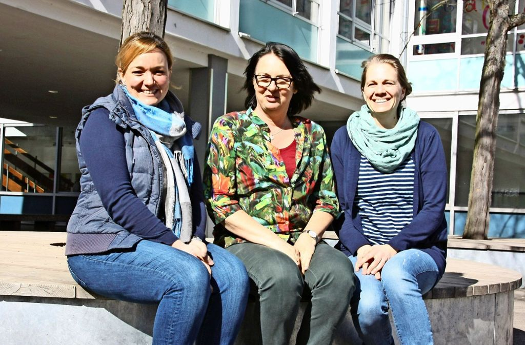 Tina Bührle, Gabriele Roegers und Aline Meyer (von links) machen sich an der LUS gegen Mobbing stark. Foto: Natalie Kanter