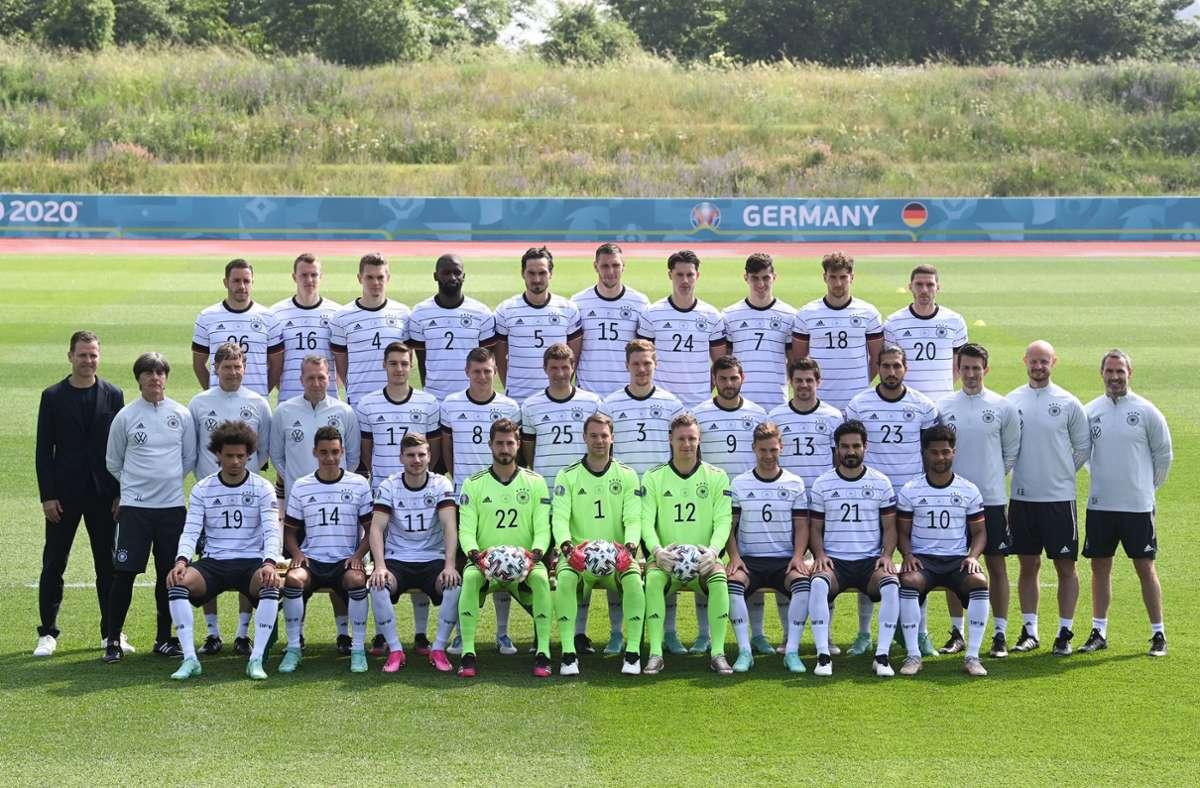Das offizielle Mannschaftsfoto der Deutschen Nationalmannschaft. Foto: dpa/Federico Gambarini