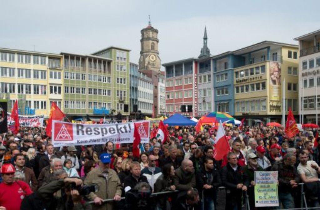 Eine DGB-Kundgebung in Stuttgart Foto: dpa