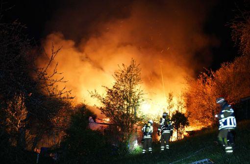 Waldstück und Gartenhütte in Flammen