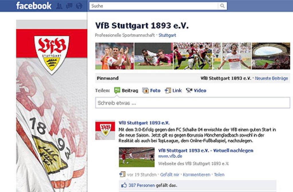 Aktuelle Infos, Bilder und jede Menge Kommentare und Reaktionen von den Fans - ein Profifußball-Klub ohne eigenen Facebook-Auftritt ist heute nicht mehr denkbar. Der VfBStuttgart wird die Schallmauer von 200.000 Anhängern bald brechen. Hier die Rangliste der Bundesligavereine: Foto: SIR/Screenshot