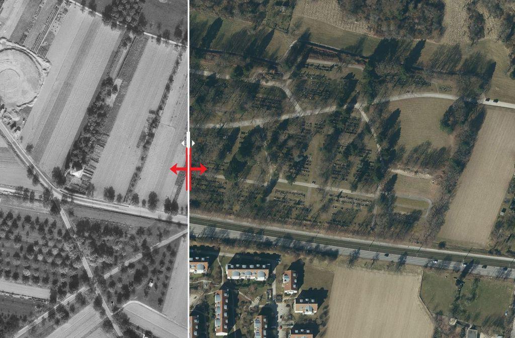 Wo im Jahr 1955 noch viele Stückle zu sehen sind, befindet sich heute der Ostfilderfriedhof. Foto: Stadtmessungsamt/Plavec