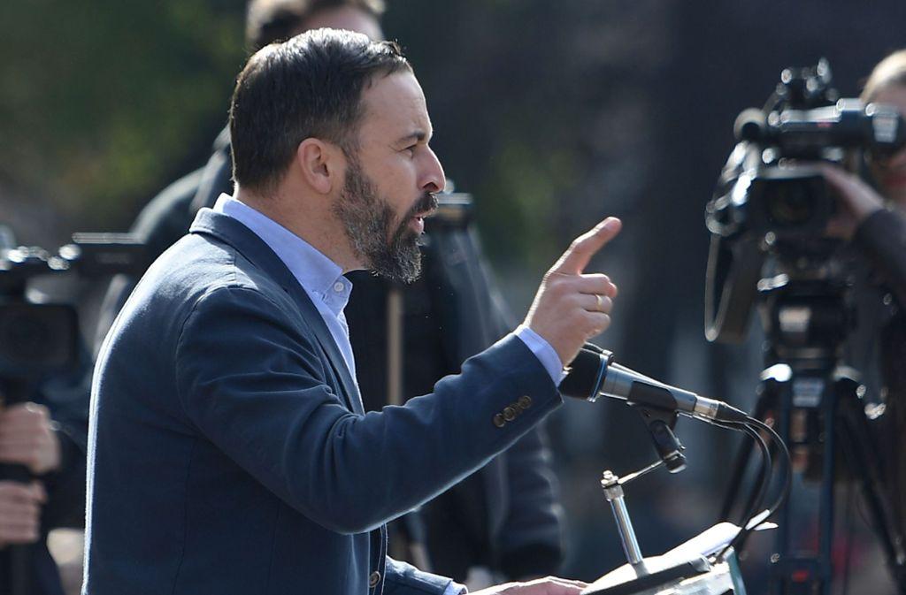 Santiago Abascal, der Parteichef von  Vox, empfindet seine Partei nicht als extrem. Foto: AFP