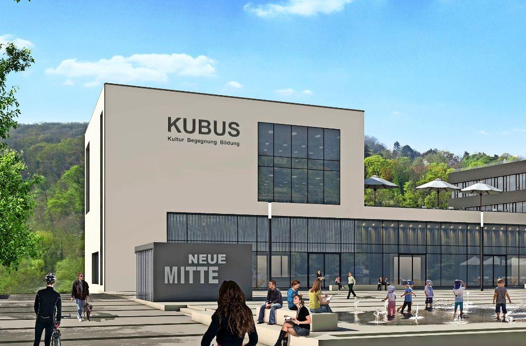 Ein Würfel mit vielen Aufgaben: Der Kubus in der Neuen Mitte in Remseck soll Bücherei und Seminarraum sein. Foto: HHL-Architekten