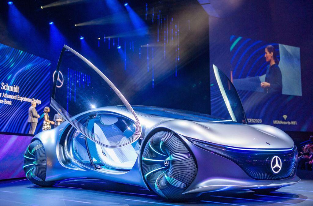 """Futuristischer geht's kaum: Das Daimler Concept Car """"Vision AVTR"""". Foto: dpa/Andrej Sokolow"""