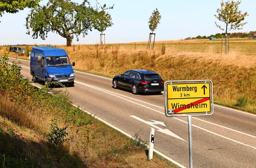 Viel befahren: Die Landesstraße1175 zwischen Wimsheim und Wurmberg. Foto: Andreas Gorr