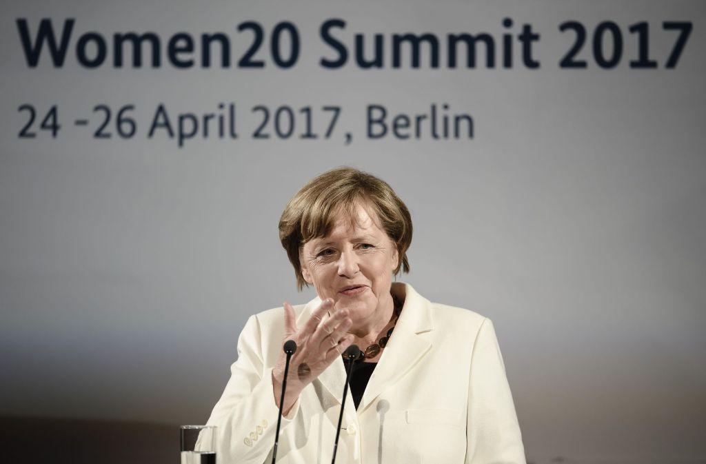 Bundeskanzlerin Angela Merkel auf dem W20-Gipfel in Berlin. Foto: Getty Images Europe